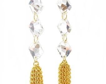 Gold Statement Earrings swarovski crystal statement jewelry tassel WONDERWALL