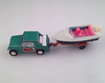 Vintage tootsie toys jeep trailer and boat