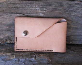 Thin, Simple. Men's Leather Wallet. Natural in color w/ Dark Brown Stitching.
