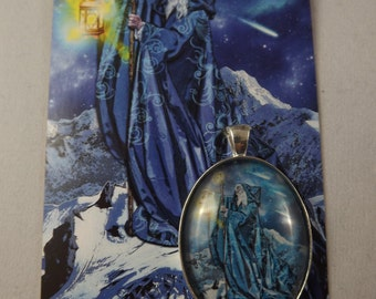 The Hermit Tarot cabochon pendant from the Tarot Illuminati