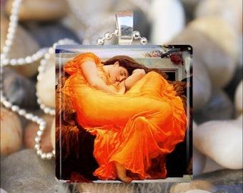 FLAMING JUNE Frederick Leighton Art Painting Glass Tile Pendant Necklace Keyring