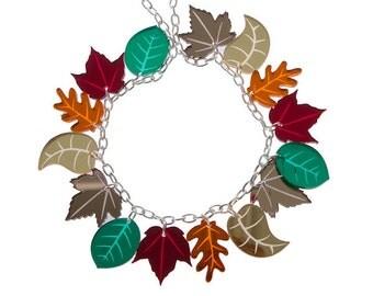 Autumn Leaves charm necklace - laser cut acrylic