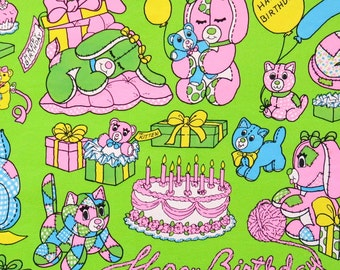 Vintage Juvenile BIRTHDAY Gift Wrap - Wrapping Paper - Stuffed Animal PARTY - 1970s