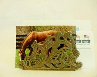 SOLID BRASS Napkin/Letter Holder * Ornate Decorative Brass Desk Organizer * Filigree * Hollywood Regency
