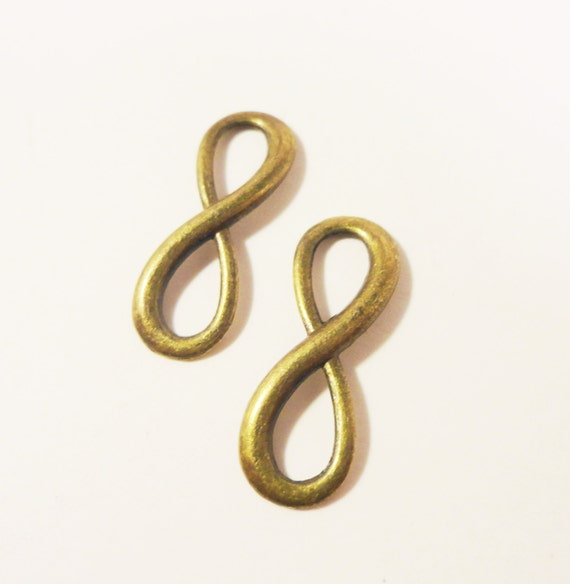 Infinity Symbol Charms 23x8mm Antique Brass Metal (Bronze) Infinity Connector Charm Figure Eight Connector Link Jewelry Making Findings 10pc