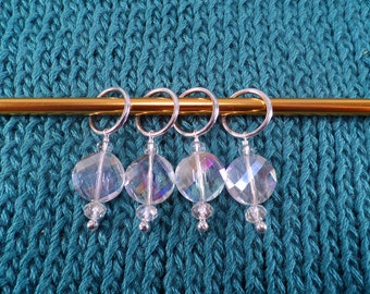 Crystal Clear Glass Stich Markers set of 4