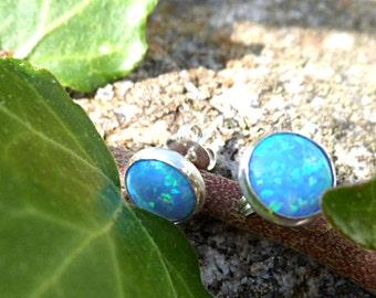 opal, sterling silver opal stud earrings, opal studs, 8mm wide, blue opal studs