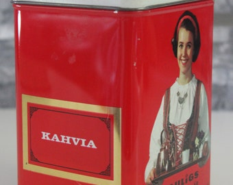 "Vintage Paulig coffee tin featuring ""Paula tyttö"" ""Paula girl"""