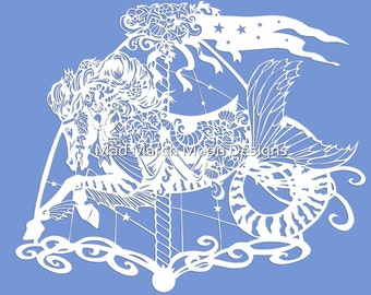 papercut template commercial use Seafoam the Carousel Seahorse Papercut TEMPLATE .PDF download