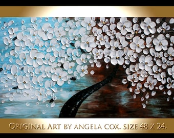 Original Abstract   White Cherry Flowers  Tree Heavy Texture  Impasto  landscape Painting Palette Knife Painting. Size 48 x 24.