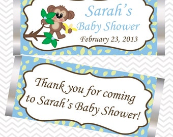 Blue Monkey  - Personalized Candy Bar Wrapper Birthday Baby Shower