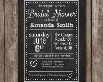 Chalkboard Bridal Shower Invitation/Digital File/Bridal shower*baby shower*birthday