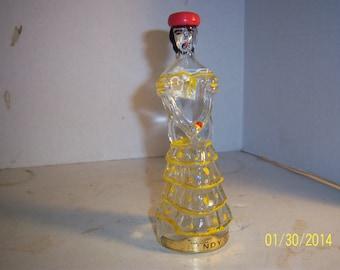 1970's Nogueras Barcelona 6 7/8 inch tall Hand Painted Spanish Senorita Figural Liquor Brandy  Bottle