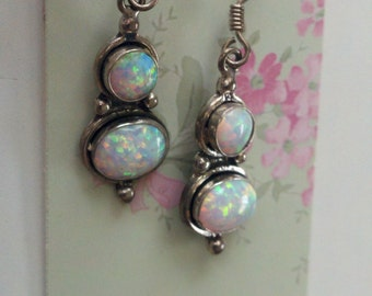 Double Opal Sterling Silver Earrings