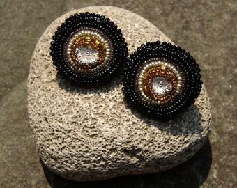 Beaded Earrings, Chunky, Sterling Flowers, Clip or Studs
