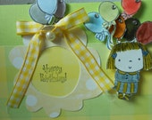 Card - HAPPY BIRTHDAY for Little GIrl - Blank Inside - Handmade