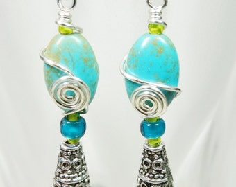 Wire Wrapped Magnesite Earrings, Wire Wrapped Earrings, Wire Wrapped Dangle Earrings, Turquoise Magnesite Earrings