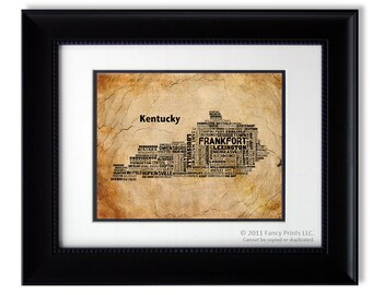 Housewarming gift for family Kentucky Modern print Unique Typography Poster Birthday Christmas Gift for him housewarming