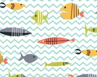 Atomic Tabby Collection by Michael Miller Something's Fishy in Multi Colors on White