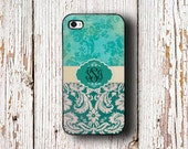 Personalized Iphone case, Iphone 6 case, Monogram iPhone 5c case, Pretty iPhone 5 case, Womens Iphone 5s case, Teal grunge damask (9697)
