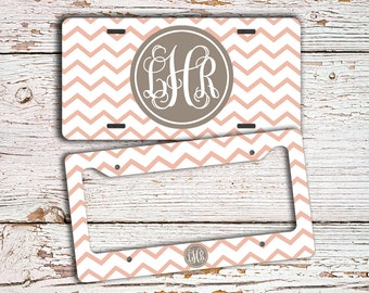 Monogrammed gifts, Personalized license plate or frame, Coral pink chevron tan, Chevron car tag, Bicycle license plate Cute bike tag  (9705)