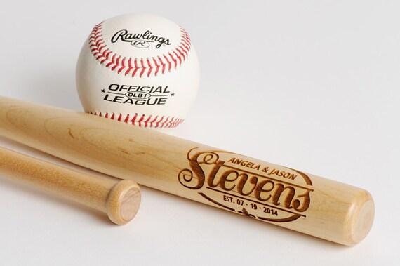 Baseball Wedding Gifts: 1 Personalized Mini Bat Engraved Wedding Gift Personalized