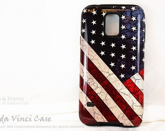 American Flag Galaxy S5 Case - TOUGH dual layer S 5 Case with USA Flag Art - Stars & Stripes