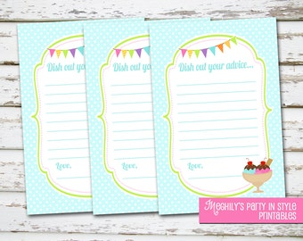 INSTANT DOWNLOAD - Ice Cream Shower - Advice Cards