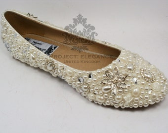 Evelina - Ivory Pearl shoes, bling shoes, crystal wedding shoes, pearl wedding shoes, crystal shoes Swarovski Elements Ballerina Flat Shoes