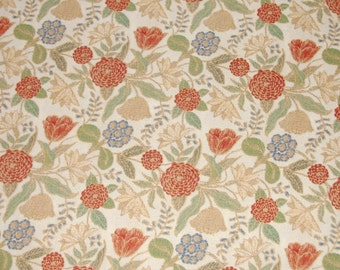 Porcelain Collection Cotton-Blend Fabric, Red, Blue, Gold Flowers with Green Leaves on Soft Yellow,  44 Inches Wide - 1 Yard Piece - DESTASH