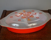 RESERVED--Vintage Red and Orange Friendship Pattern Pyrex Divided Casserole Dish