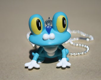 Froakie / Pokemon - Plastic Pendant on Shiny Silver Ball Chain