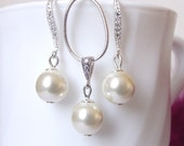 Pearl Bridal jewelry set, bridesmaid jewelry, pearl drop earrings & necklace set, wedding jewelry set, bridal necklace and earring set
