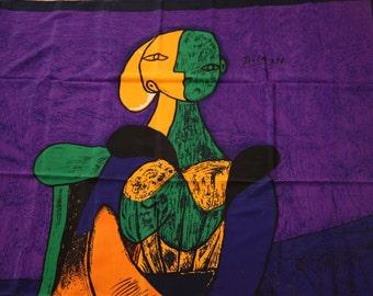 Vibrant Picasso 100% Silk Art Scarf