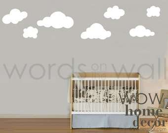 7 Big Fluffy Cloud wall decals. Pack of 7 clouds. Various shapes. Vinyl Wall Art Decal