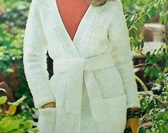 Two (2) Vintage Crocheted Women's Wrap Coat Pattern