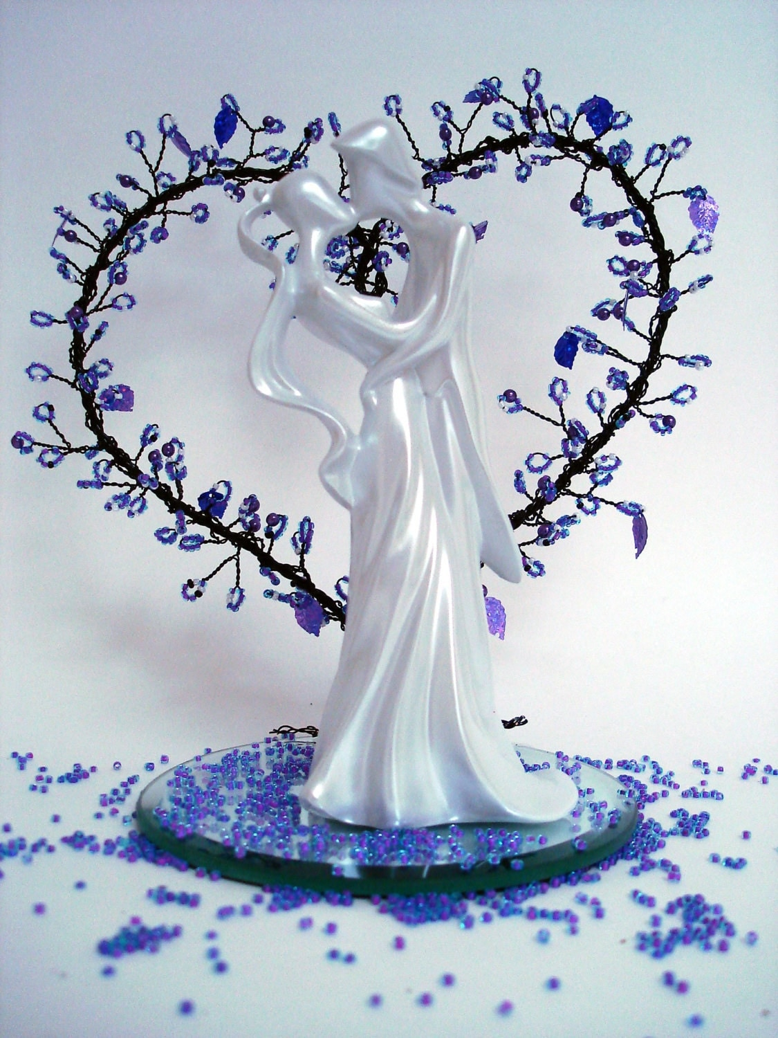 Wire Heart Tree with Figurine Wedding Cake Topper Bridal