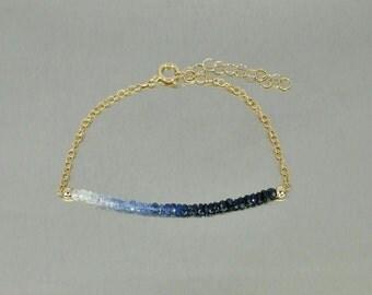 "Blue/White Sapphire Bar Bracelet (2"" bar)"