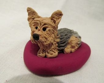 Hand Sculpted Polymer Clay Yorkie Dog Sculpture, Custom Made Pet Eddie on Cushion