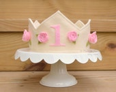 Felt Princess 1st First Birthday Crown in Ivory with Pink Roses, Photo Prop, Dress Up Play