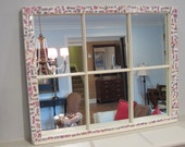 Cottage Chic Farmhouse Window Mirror with Antique China Mosaic