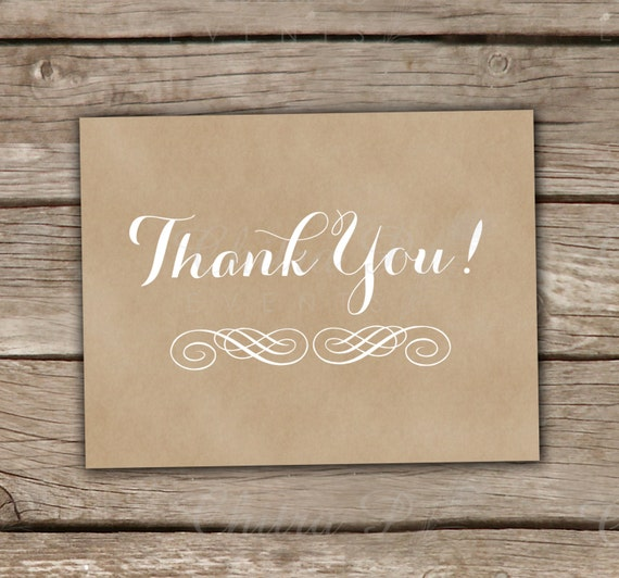 Vintage Baby Shower Thank You Cards: Items Similar To Kraft Look Thank You Cards