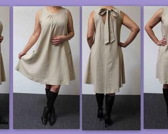 Boyfriend Dress, Linen Dress, Beige Linen Dress, Short Linen Dress, Summer Dress.
