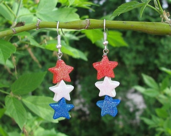 4th of July Star Earrings handmade of Polymer Clay.