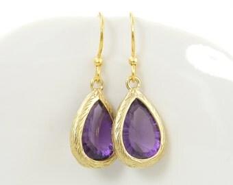 Purple Gold Earrings, Amethyst Drop, February Birthstone Faceted Stone Dangle Earrings |PJ1-8