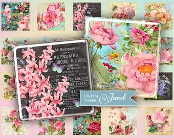 the mix of flowers - squares image - digital collage sheet - 1 x 1 inch - Printable Download