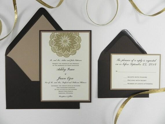 Gold Embossed Wedding Invitations
