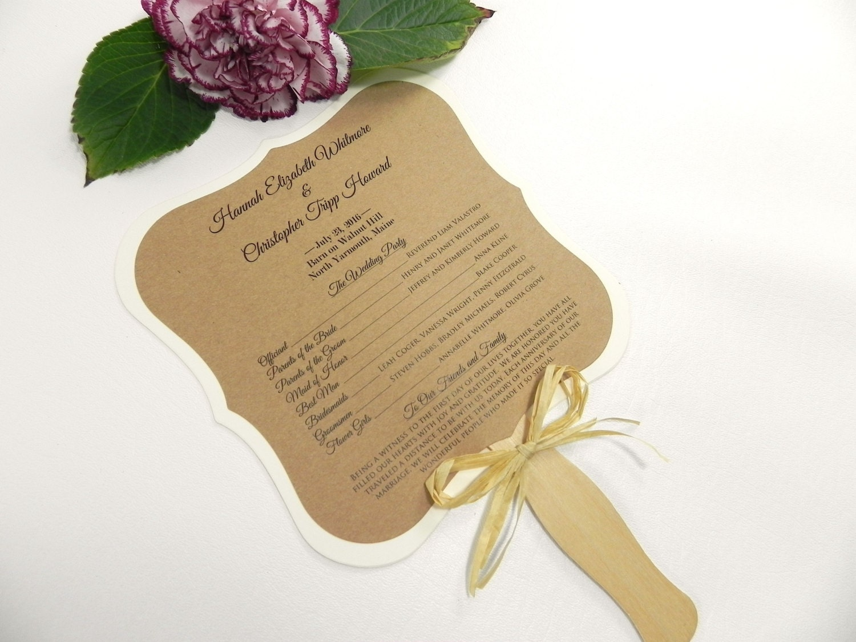 Ornate square rustic wedding program fan style with gold and for Rustic wedding program fans