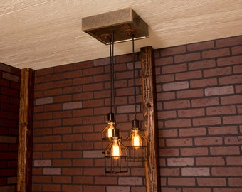 Industrial lighting, Industrial Chandelier, Black With Reclaimed Wood and 3 Pendants. R-1212-BC-3