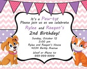 Dog and Cat Girl Invitation Digital File